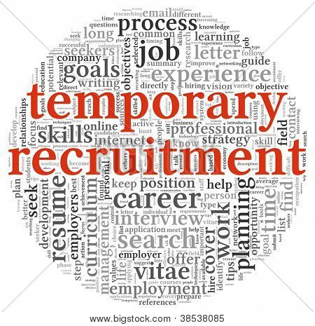 Temporary recruitment concept in word tag cloud on white background