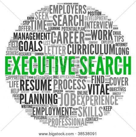 Executive search concept in word tag cloud on white background