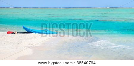 Kayak on an exotic pink sand beach