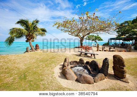 Beautiful exotic coast on Moorea island in French Polynesia