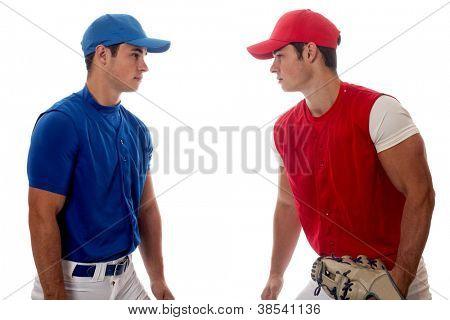 Two baseball opponents. Studio shot over white.