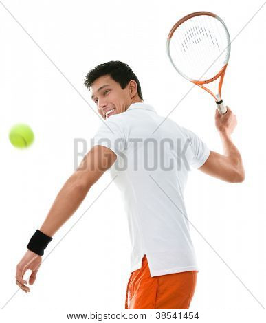 Sportlicher Mann, Tennis spielen, isolated on white