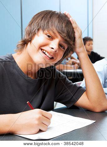 Friendly, smiling adolescent boy in school classroom.