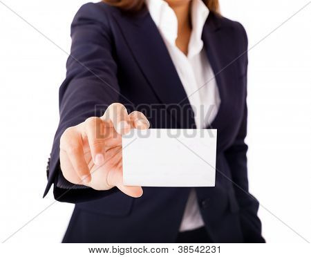Businesswoman showing and handing a blank business card. Isolated on white background.