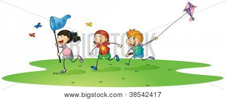 illustration of a kids playing with kites and butterflies