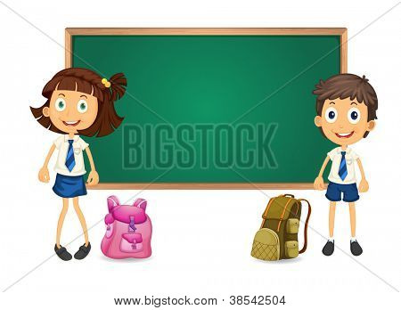 illustration of a kids and green board on white background