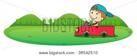 illustration of boy and car in a white background