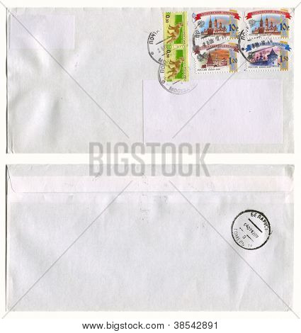 RUSSIA - CIRCA 2012: Mailing envelope with postage stamps dedicated to Russian architecture and animals, and the reverse side, circa 2012.
