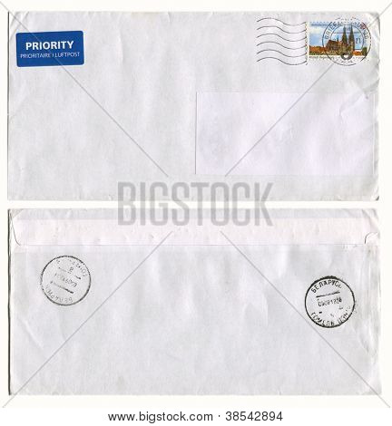 GERMANY - CIRCA 2012: Mailing envelope with postage stamps dedicated to Altstadt Regensburg, and the reverse side, circa 2012.