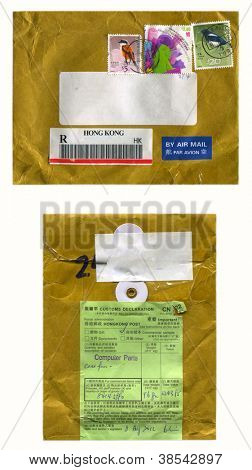HONG KONG - CIRCA 2012: Mailing envelope with postage stamps dedicated to Birds, and the reverse side, circa 2012.