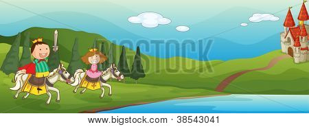 illustration of a kids and horse in a beautiful nature