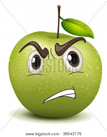 illustration angry apple smiley on a white