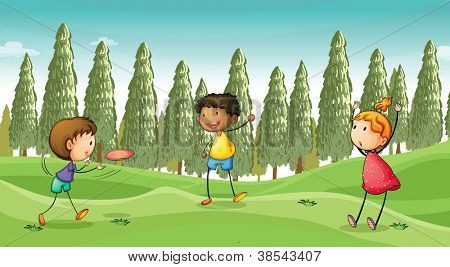 illustration of a kids playing in a beautiful nature