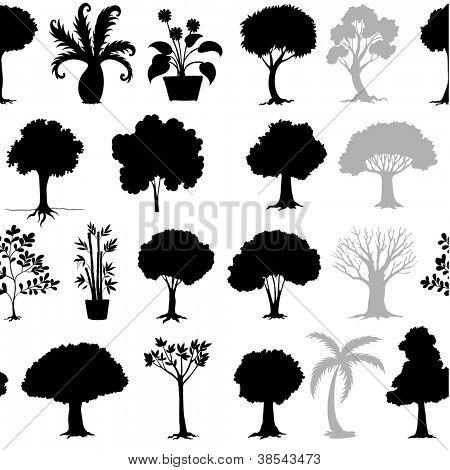 ilustração de várias árvores em um fundo branco