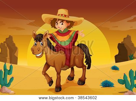 illustration of man and horse in a desert