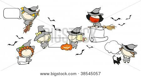 Funny kids #67 - Halloween backgrounds with witches