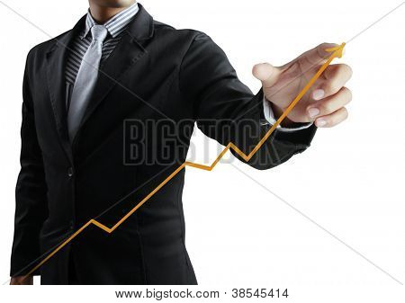 Business Mann stossend graph
