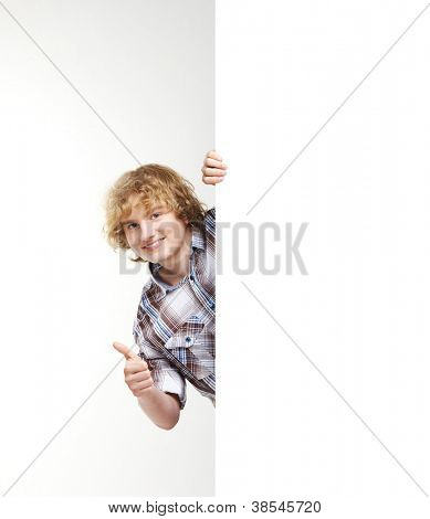 Boy with the blank banner. Perfect space to put any text.