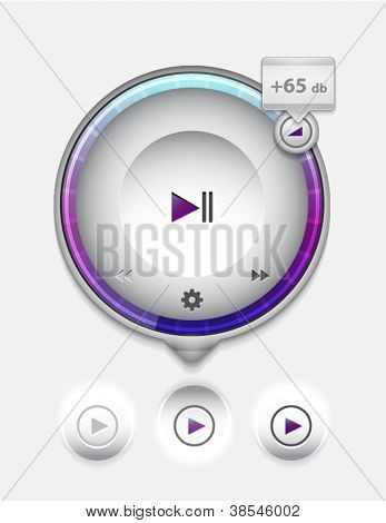 Multimedia-Player UI Tooltip. Detaillierte Vektor-illustration