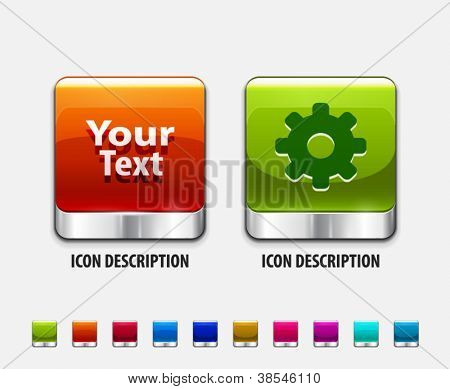 Glossy color templates for creation square buttons. Vector icon set