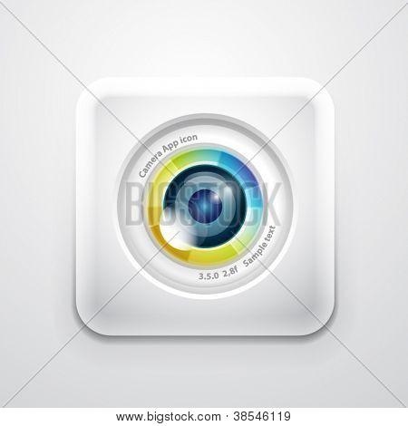Kamera-Anwendungssymbol. Bunte Kamera-Linsen-Design auf weißem Quadrat
