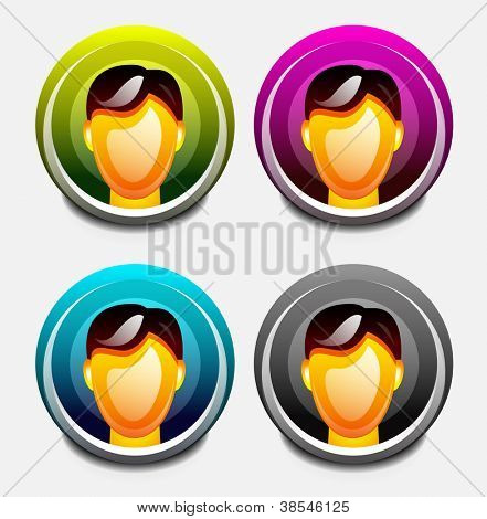 Vector set of round user icons