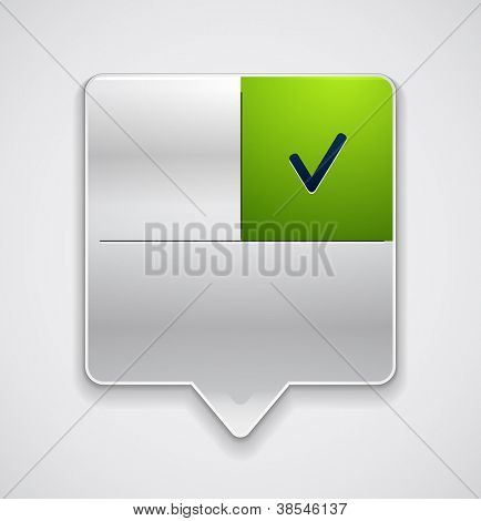 Pointer with button and tick. Vector icon