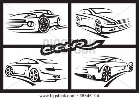 set of four monochrome car