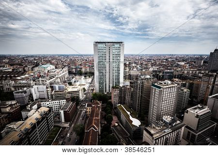 Aerial view of Milan, with the famousest skyscraper.