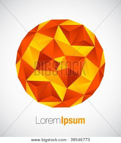 Geometric business symbol in orange color