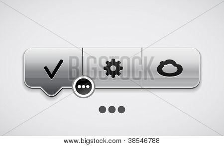 Localizador de vector con botones | iconos. Puntero de menú moderno