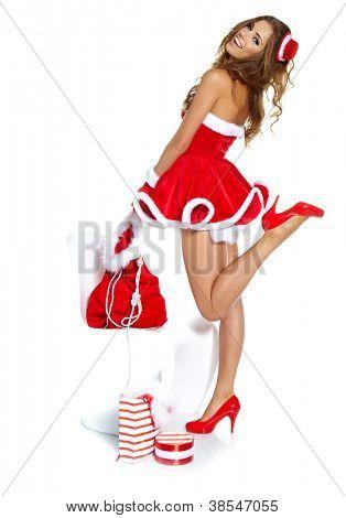 sexy meisje dragen van santa claus kleding