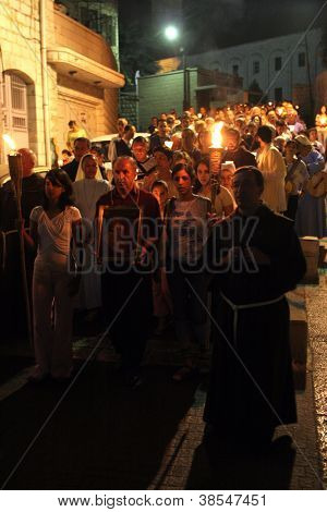 NAZARETH , ISRAEL-SEPTEMBER 30: Every Friday procession goes through the streets of Nazareth, from the Church of St. Joseph to the Basilica of the Annunciation, Nazareth, Israel on September 30, 2006.