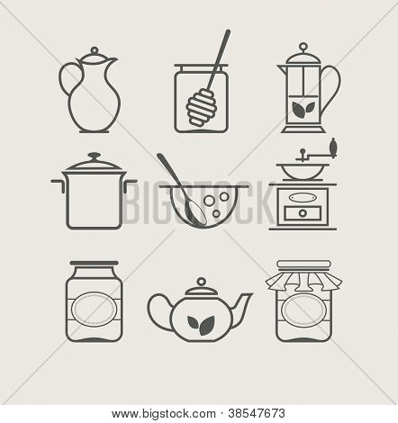 tableware set icon vector illustration