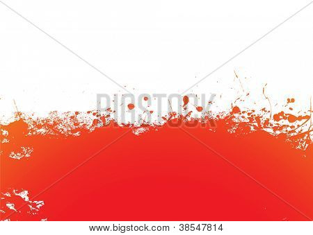 Orange and red ink splat banner background