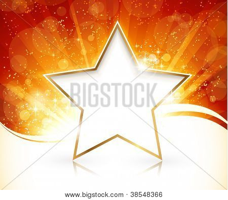 Red golden light burst with stars and defocused light dots in the background and gold rimmed white star with reflection for your text.