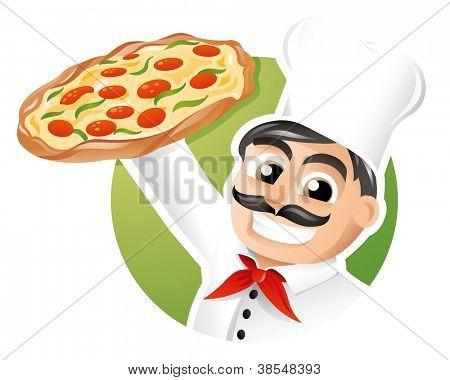 Chef italiano, apresentando um forno pizza