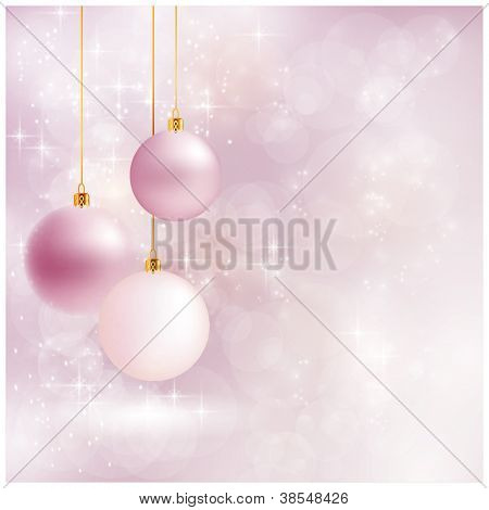 Abstract soft blurry background with baubles, bokeh lights, and stars. The festive feeling makes it a great backdrop for Christmas designs. Copyspace.