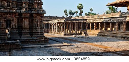 Panorama of Airavatesvara Temple, Darasuram, Tamil Nadu, India. One of Great Living Chola Temples - UNESCO World Heritage Site.