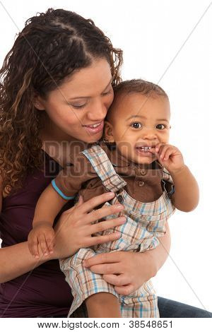 African American Happy Smiling Mother and Baby Boy Isolated on White Background