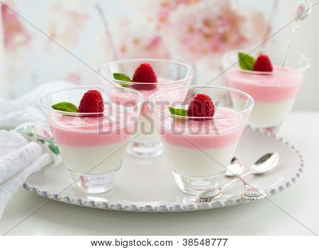 Raspberry yogurt dessert in glasses