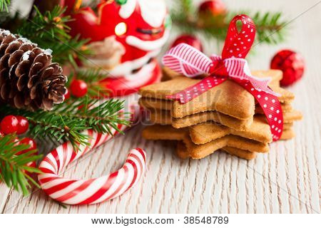 Christmas cookies with festive decoration