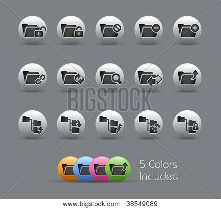 Folder Icons - 1 of 2 // Pearly Series -------It includes 5 color versions for each icon in different layers ---------