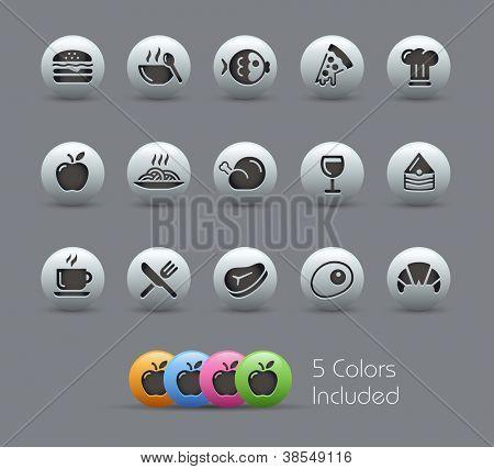 Conjunto de ícones de comida - 1 de 2 / / série perolado---inclui 5 versões de cor para cada ícone em diferentes