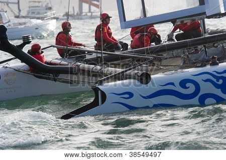 SAN FRANCISCO, CA - OCTOBER 4: Team China'??s sailboat skippered by Phil Robertson competes in the America'?s Cup World Series sailing races in San Francisco, CA on October 4, 2012