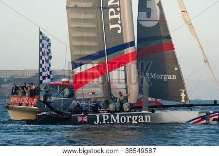 SAN FRANCISCO, CA - OCTOBER 4: Ben Ainslie Racing crosses the finish line in the America'??s Cup World Series sailing races in San Francisco, CA on October 4, 2012