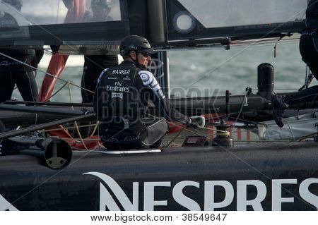 SAN FRANCISCO, CA - OCTOBER 4: Dean Barker, skipper of Emirates Team New Zealand, competes in the America'??s Cup World Series sailing races in San Francisco, CA on October 4, 2012