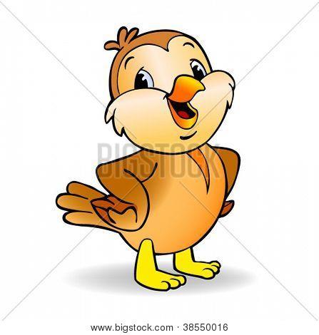 Cartoon Sparrow - beautiful little vector bird