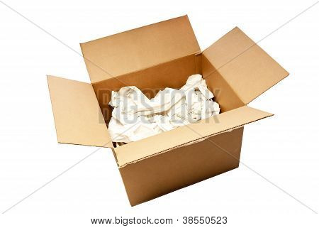 Big Used Opened Box With Packing Paper