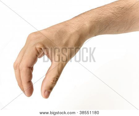 Male hand reaching for something.isolated on white